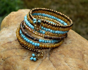 Boho African Trade Bead and Czech Bead Bangle