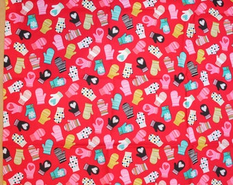 Fabric remnant - red christmas mittens