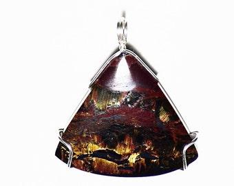 Tiger Eye Pendant, Marra Mamba Australian Tigereye Jewelry in Sterling Silver, Men Tiger Eye, Crystal Patterned Golden Needles, Gift for Him