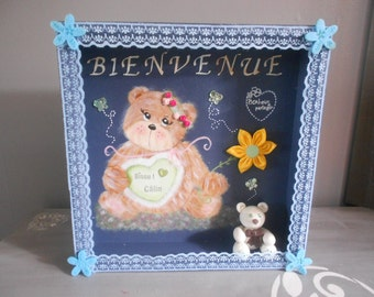 "Decoration ""teddy bear"". ""Welcome"" door plate."