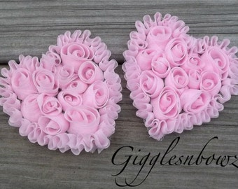 NeW SMaLLeR SiZE- Set of 2 Beautiful Shabby Chic Chiffon HEART Appliques- PiNK  3 inch