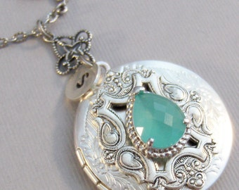 Sea Mist,Aqua Locket,Aqua Necklace,Green Locket, Green Necklace,Blue Locket,Locket,Antique Locket,Sparrow,Bird Locket,Initial,Hand Stamp