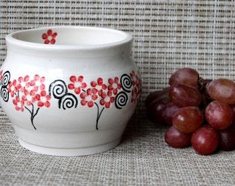 White Porcelain Bowl w Red Flowers/Black Spirals