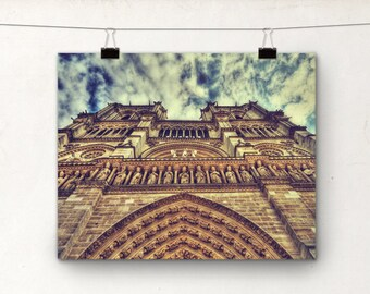 Notre Dame, Paris Photography, Church Architecture Photo, Cathedral, Sky