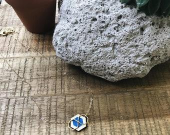 Wooden Hexagon + Brass + Nickel Free + Thai Fabric Pendant Necklace  + Handmade Jewelry + Boho