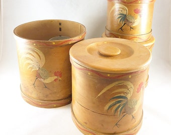 Vintage rooster neating containers