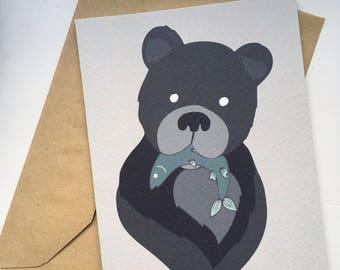 A6 Bear print v3 greetings card