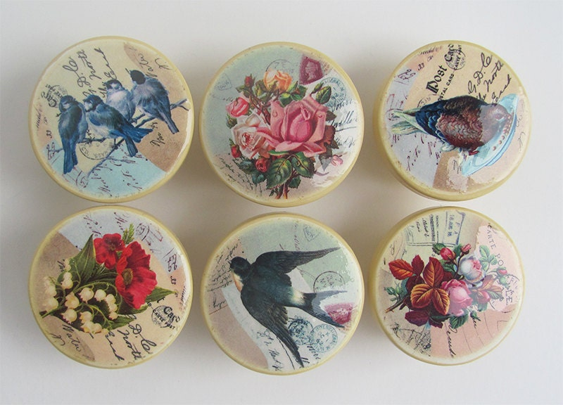 Vintage Style Drawer Knobs Antique Yellow with Birds Flower