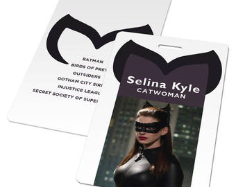 Catwoman costume: Catwoman cosplay, Catwoman gifts, Catwoman accessories, custom ID card, Selina Kyle