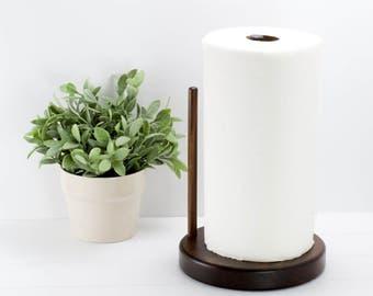 Paper Towel Holder Round Walnut