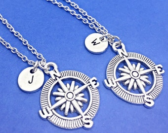 Best friend necklace for 2, best friend long distance, bff necklace, compass necklace,compass charm,personalized,custom, initial,friend gift