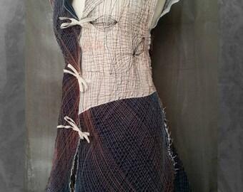 Unique Boho Chic Dress Embroidered Jacket Ethnic Style Wearable Art Designer Clothing Extraordinary Minidress