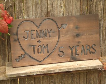 Valentine's Day  Anniversary  Wedding  Heart Rustic Custom Carved wood sign from reclaimed wood - personalized   - western cedar