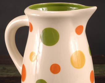 Terramoto Polka Dot Pitcher with Green Interior, San Francisco