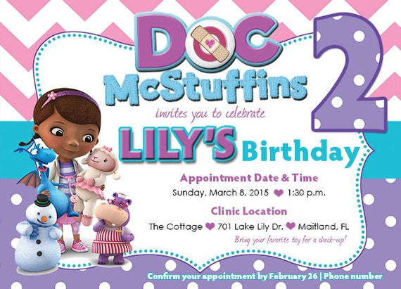 Customized doc mcstuffins birthday invitation front and back like this item filmwisefo Images