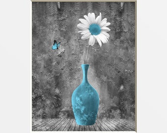 Blue Gray Home Decor, Blue Daisy Flower, Butterfly, Rustic Modern Rustic Blue Home Decor Matted Picture
