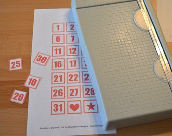 Printable Number Squares for Scrapbooking and More