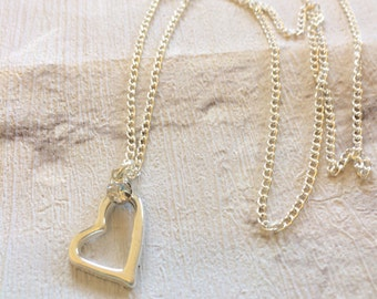 Silver Heart Necklace, Silver Necklace, Gift for Women, Silver Heart Pendent, Boho Jewellery, Love You Necklace, Silver Heart.