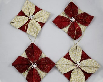 Fabric Christmas Ornaments, Quilted Christmas Ornaments, Snowflake Ornaments, Set of 4, Xmas Tree Ornaments, Handmade Xmas Decor