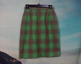 Vintage 60's plaid high waist pencil skirt sz S