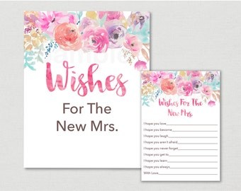 Floral Wishes For The Bride / Floral Bridal Shower / Wishes For The New Mrs / Pink Floral / Watercolor / Printable INSTANT DOWNLOAD B100