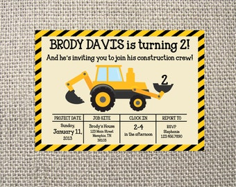 PRINTED or DIGITAL | Construction | Birthday Party Invitation | Invites | Dump Truck Transportation Bulldozer | Custom Invitations .82 each