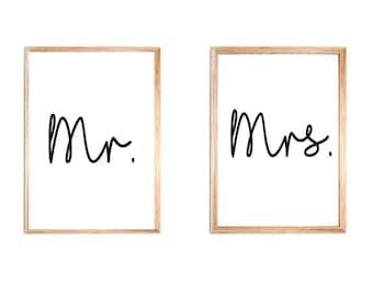 Mr Mrs , Mr Mr, Mrs Mrs Bedroom Wall Art
