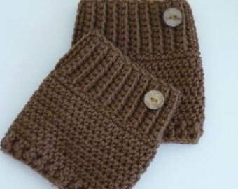 Crochet Boot Cuffs Button Accent Crochet Boot Topper Leg Warmer in Toffee Brown - Ready to Ship - Direct Checkout - Gift for Her