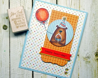 Happy Bear-Day Birthday Cute Bear Fancy Greeting Card Handmade in Blue Orange Red Yello for Friend Sister Mom Daughter Aunt Coworker Child