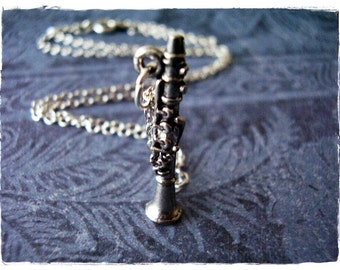 Silver Clarinet Necklace - Antique Pewter Clarinet Charm on a Delicate Silver Plated Cable Chain or Charm Only