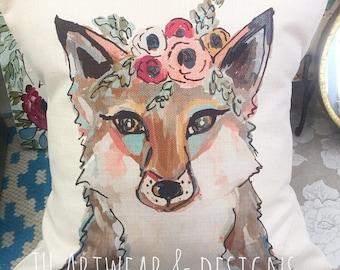 Gypsy flower crown Fox pillow