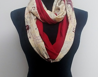 Harry Potter infinity scarf; Marauder's Map circle scarf;  Moony, Wormtail, Padfoot & Prongs two tone scarf, mischief managed