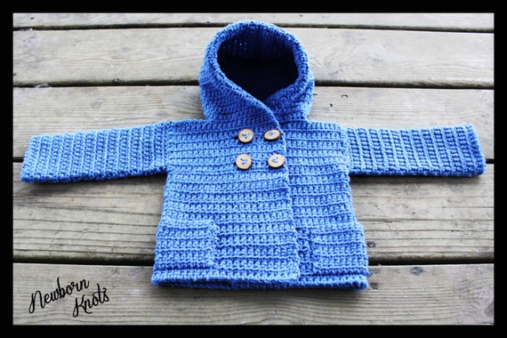 Crochet Baby Sweater Pattern Baby Boy Or Girls Hooded