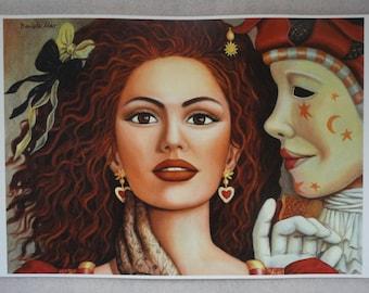 "Fantasy Art Print ""Lady of Hearts"" Girl w/ Venetian Mask from original oil painting by Daniela Mar"