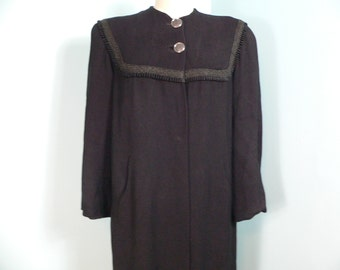 1940's Black Gabardine Wool Swing Coat with Braided and Ribbon Yoke
