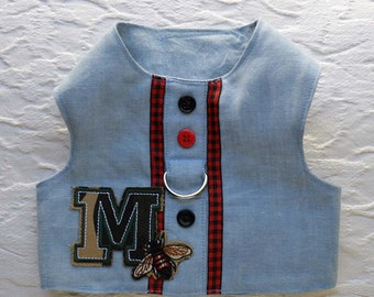 Chambray Dog Harness Vest with Letter M and a Bee Patch