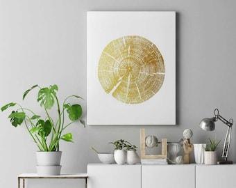 Gold Tree Ring Art, Tree Slice, Growth Ring, Tree Print, Gold Wall Art,  Tree Poster, Boho Room Decor, Printable Tree Poster, Gold Wall Decor