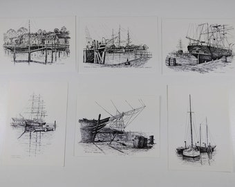 Vintage Boat Postcards  -  Black and White Drawing - Clark M. Goff - Sketches - Beach