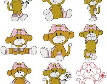 28 Baby Girl Set #2 Sock Monkey Machine Embroidery Design Files 4x4 & 5x7