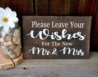 Rustic Wedding Sign,  Please Leave Your Wishes For The New Mr & Mrs,  Sign Our Guestbook Wedding Decor, Country Wedding Guest Book Sign