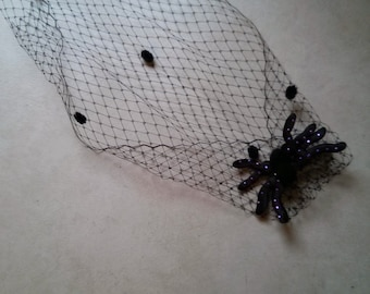 Repurposed  Black Spider with Black Birdcage Veil Hair Clip