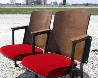 2 Movie Theater Red Seats Vintage Chair Art Deco Hollywood Auditorium n, Theater Seats,  Wooden Chairs, Entryway Bench, Theatre Seats