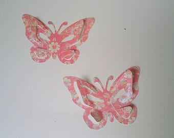 "The sticker paper with adhesive ""pretty butterflies"" color Rose"