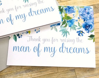 thank you for raising the man of my dreams - hydrangea wedding cards - card for mother in law - father in law card - wedding day - ETERNITY