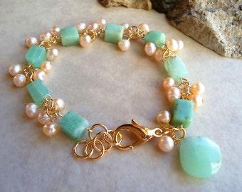 Chrysoprase Green Stone Cluster Bracelet.Pearls.Beadwork.Gold.Silver.Gemstone.Statement.Bridal.Mother's.Birthday.Valentine.Holiday.Handmade.