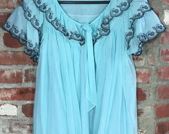 Vintage 60s 70s Lingerie Powder Blue Chiffon Night Gown Petty Coat with Black Lace Trim Size Small Medium