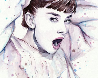 Audrey Hepburn Watercolor Painting, Audrey Watercolor, Audrey Hepburn Wall Art, Audrey Hepburn Decor, Audrey Hepburn Wall Decor, Film Art