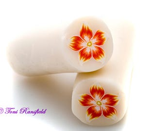 Orange and Yellow Star Flower Polymer Clay Cane, Raw polymer Clay Cane, Millefiori Polymer Clay