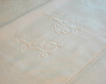 "French Linen Sheet, Antique Linen, Monogrammed ""LJ"", Deeply Drawn Hem, Excellent Condition"