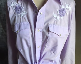 Vintage Karman Embroidered Roses Lavendar Western Shirt